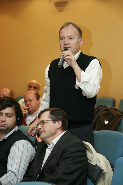 Asking a question of the presenter.