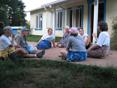Parts of the two Mozambique families gathered for a visit