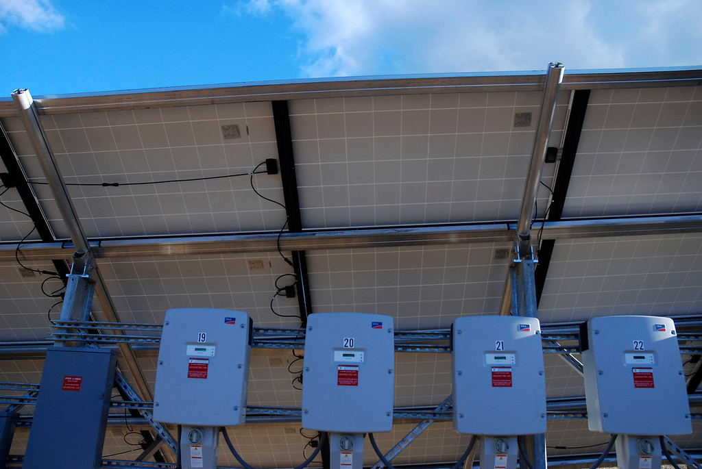 . Kayla Rice/Reformer                                 Meters on the back of a new solar panel at the new community solar array in Putney.