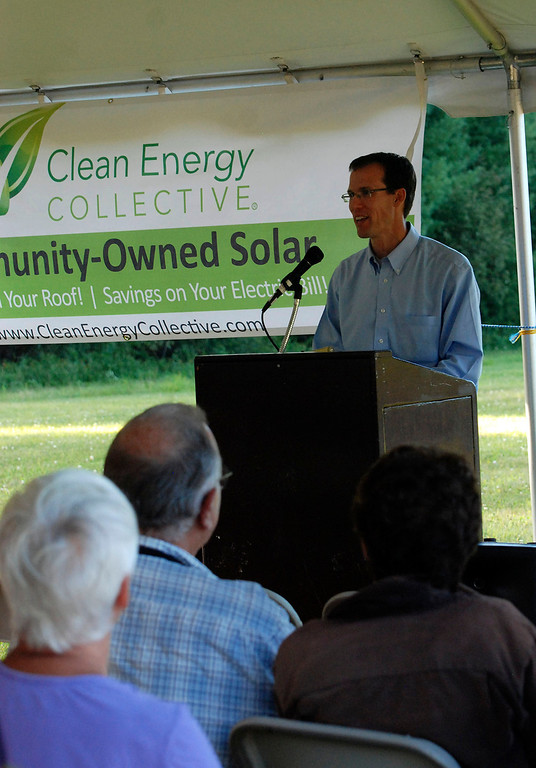 . Kayla Rice/Reformer                                 Clean Energy Collective President and Founder, Paul Spencer speaks during the grand opening of the newly built community solar array in Putney.