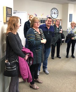 Lynnwood Mayor Nicola Smith and Vice President council member Christine Frizzell along with Cheri Ryan and family who helped make Aunt Bette's community center possible (photo by Vicki Dorway)