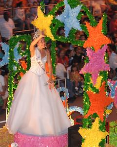 Jessica Nicole Ramirez, the 2009 Miss Fiesta San Antonio, participating in the Fiesta Flambeau parade, April 25th, 2009.