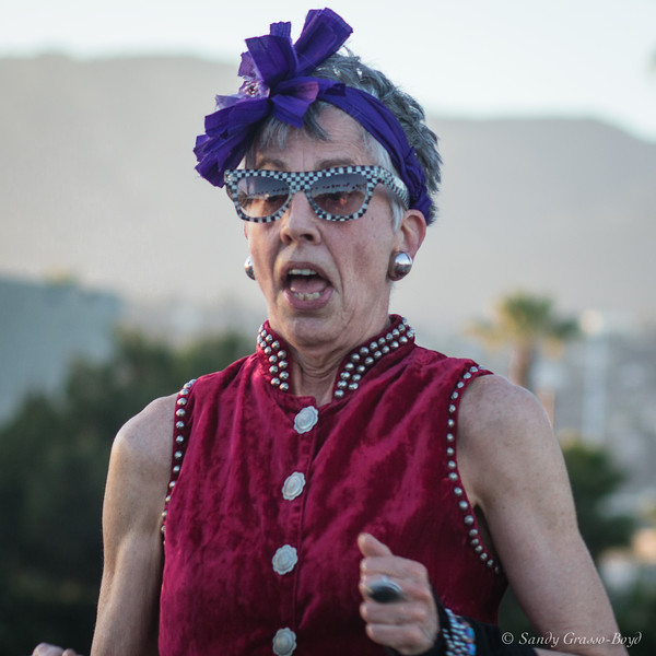 Flamboyant lady at Concert in the Park