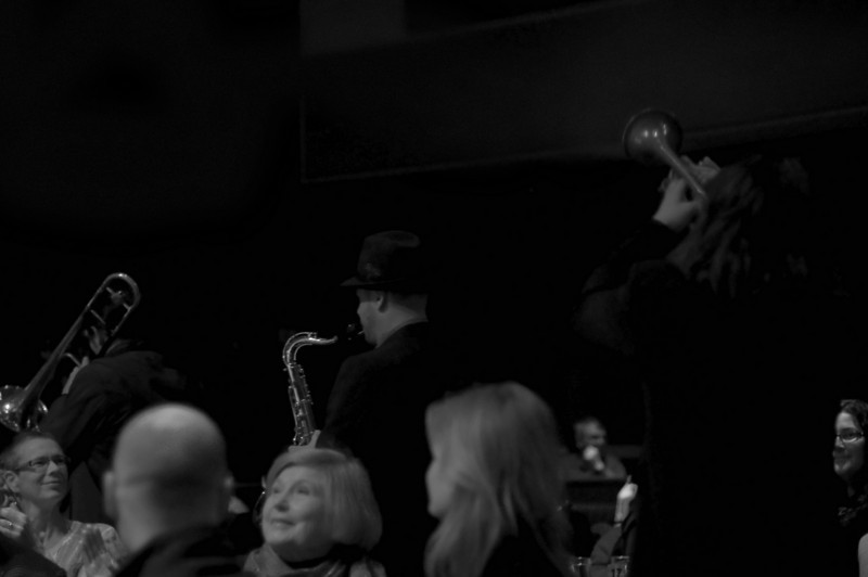 Jazz Mafia Horns make their entrance<br /> Yoshi's - San Francisco, California<br /> December 24, 2009
