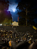 As the audience waits for Rodrigo y Gabriela, the waxing gibbous moon rises over the Greek Theatre.