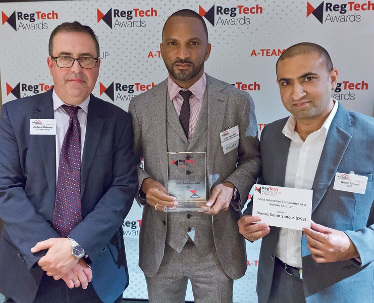 Andrew Delaney, A-Team Group, E. Jay Saunders and Rohit Trivedi, Domus Semo Sancus (DSS), at the RegTech Summit for Capital Markets, NYC, November 16 2017.