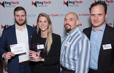 RegTech Award winners for Best Regulatory Alert Management System, Michael LoCicero, Bailey Kessing, Ben Peikes and Michael Friedman, Trillium Surveyor