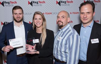 RegTech Award winners for Best Regulatory Alert Management System, Michael LoCicero, Bailey Kessing, Ben Peikes and Michael Friedman, Trillium Surveyor