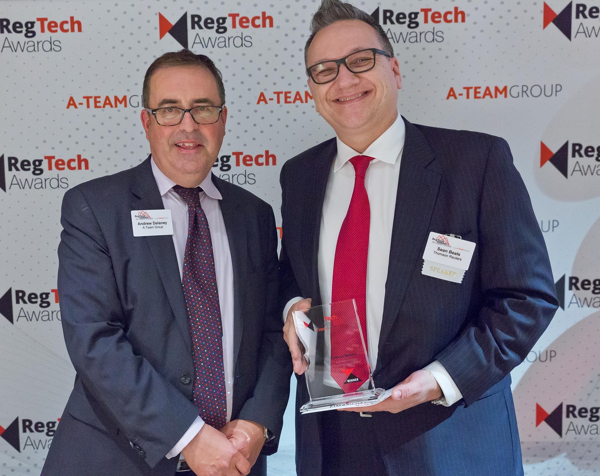 Andrew Delaney, A-Team Group and Sean Beals,  Thomson Reuters at the RegTech Summit for Capital Markets, NYC, November 16 2017.