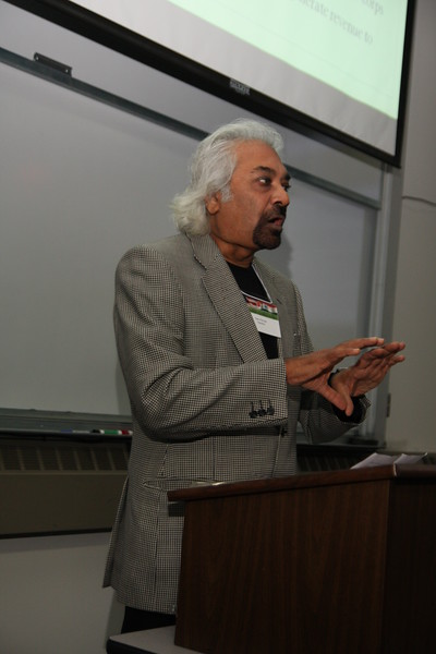 "Mr. Sam Patroda  <a href=""http://www.euronews.net/2010/08/24/sam-pitroda-architect-of-india-s-communications-revolution/"">http://www.euronews.net/2010/08/24/sam-pitroda-architect-of-india-s-communications-revolution/</a>), father of India's telecommunication revolution speaking at an India Development Service Annual Symposium at Loyola University, Maywood (Chicago), IL, USA."