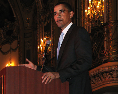 Then Senator Barack Obama 2006 speaking at the Palmer House Hotel, Chicago to the audience attending an Apna Ghar fund raiser for victims of domestic violence.