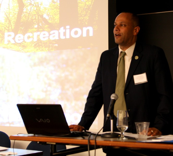 Arnold Randall, General Superintendent, Forest Preserve District of Cook County, IL speaking at a Center for Transformation of Waste Technology conference at the University of Chicago Gleacher center.