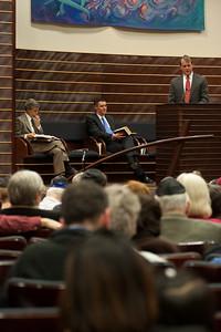 Rabbi Rudolph and Rev. Briddell listen to Rev. Ron Foster -- Thanksgiving Interfaith Service 2012 (Beth El & Bethesda United Methodist Church)
