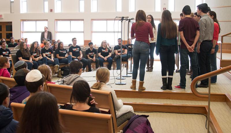 Marak Hayom, Beth El's teen a cappella choir opened the concert -- Shabbat Shira weekend concert with Tizmoret, Queens College (Feb 1, 2015) at Congregation Beth El, Bethesda, MD