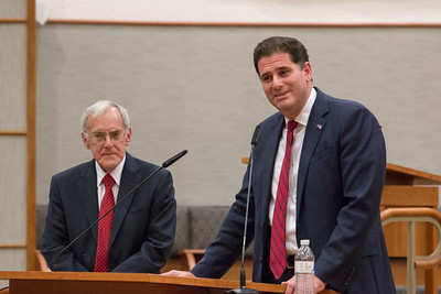 Larry Sidman presents audience-submitted questions to the Ambassador -- Ron Dermer, Israeli Ambassador to the United States spoke at Congregation Beth El (Bethesda, MD) on October 17, 2017.
