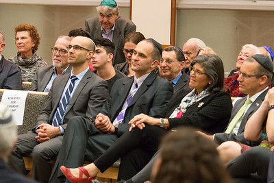 Members of the Embassy staff are introduced by the Ambassador -- Ron Dermer, Israeli Ambassador to the United States spoke at Congregation Beth El (Bethesda, MD) on October 17, 2017.