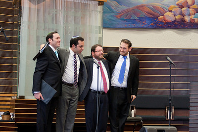 Cantors Sidney Ezer, Yakov Hadash, Jonathan Schultz, and Matthew Klein take a bow at the end of the concert -- Wizards of Ashkenaz concert, April 29, 2012 at Congregation Beth El, Bethesda, MD