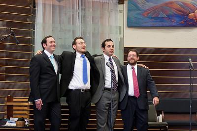 Final bows by Cantors Sidney Ezer, Matthew Klein, Yakov Hadash, and Jonathan Schultz -- Wizards of Ashkenaz concert, April 29, 2012 at Congregation Beth El, Bethesda, MD
