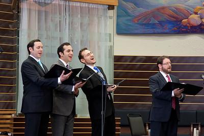 The four cantors: Sidney Ezer , Yakov Hadash, Matthew Klein, and Jonathan Schultz -- Wizards of Ashkenaz concert, April 29, 2012 at Congregation Beth El, Bethesda, MD