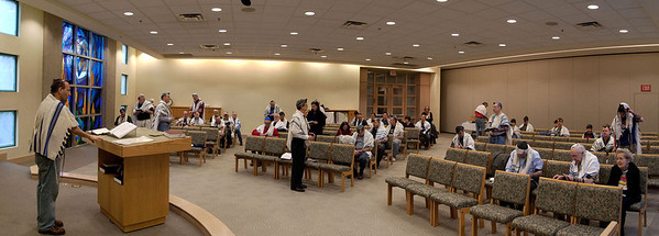 """panorama -- (two 15mm shots, stitched) -- The """"World Wide Wrap"""" at Beth El, a lesson in laying tefillin (Feb 2012)."""