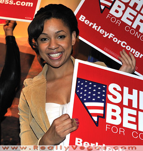 Photo of Tina Mims, Deputy Field Director for the campaign to re-elect Congresswoman Shelly Berkley at the Democratic Party event night of the Presidential Election 2008 night at Rio Hotel and Casino in Las Vegas by Las Vegas photographer Mark Bowers.