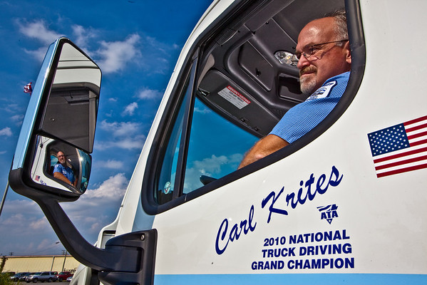 Carl Krites, a Con-way Freight driver sales representative, sits in his new Cascadia Semi Cab at the company's Sidney, Ohio service Center Tuesday September 7, 2010 following his crowning as the 2010 National Truck Driving Champion by the American Trucking Associations about a month earlier in Columbus Ohio. (Photo by James D. DeCamp 614-462-8027)