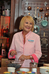 "High quality photographs from this picture gallery of Chef Josette cooking with live audience for her cooking show ""La Cuisine"" airing on BBC.  In this cooking show Episode 5 of La Cuisine Chef Josette prepares Les Tartes. The 3 tarts made from scratch are Blueberry, Zucchini and glazed Mixed Fruit. ""La Cuisine"" can also be seen on Vegas TV Cable 14. Photographs by Mark Bowers Copyright. All Rights Reserved."
