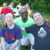 Rehabilitative Resources Inc. held a cookout for its residents t the group home on Rollstone Street in Fitchburg on Saturday.  Having fun at the cookout is, from left, Donald Bastcalst, Program Supervisor Charles Nartey and Alan Boisseau. SENTINEL & ENTERPRISE/JOHN LOVE
