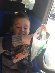Goodies from the dentist included a hot wheel car that he chose from the treasure box!