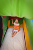 Sophie on the bounce house/castle slide