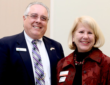 041818 - Riviera Beach -  Palm Beach North Chamber of Commerce breakfast, Wednesday, April 18, 2018 at the  Riviera Beach Marina Village, Event & Conference Center. Jimmy Patronis,  Florida's Chief Financial Officer, State Fire Marshal, and member of the Florida Cabinet, was the keynote speaker. Peter Pignataro and Debbie Nellson pictured Wednesday at the Palm Beach North Chamber of Commerce breakfast. Photo by Tim Stepien