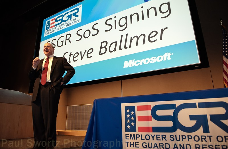Microsoft CEO Steve Ballmer addresses an audience of military leaders Wednesday, April 6, 2011, at the company headquarters in Redmond, Wash. Microsoft signed a Statement of Support for the Guard and Reserve with Dennis M. McCarthy, Assistant Secretary of Defense for Reserve Affairs.
