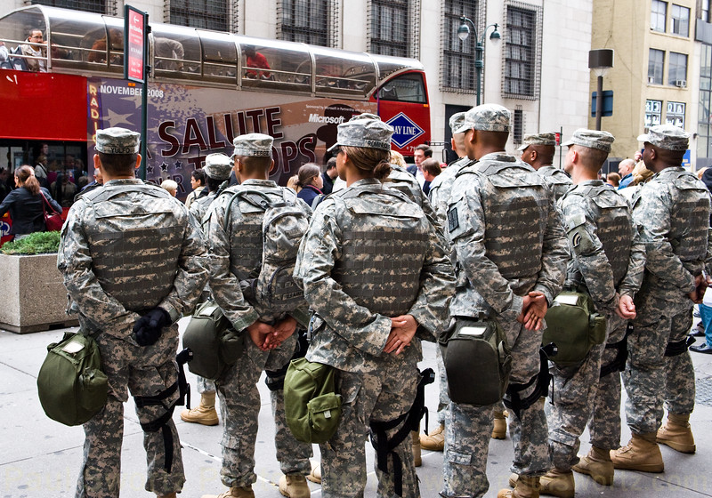 A detachment of soldiers provided security for the arriving wounded warriors.