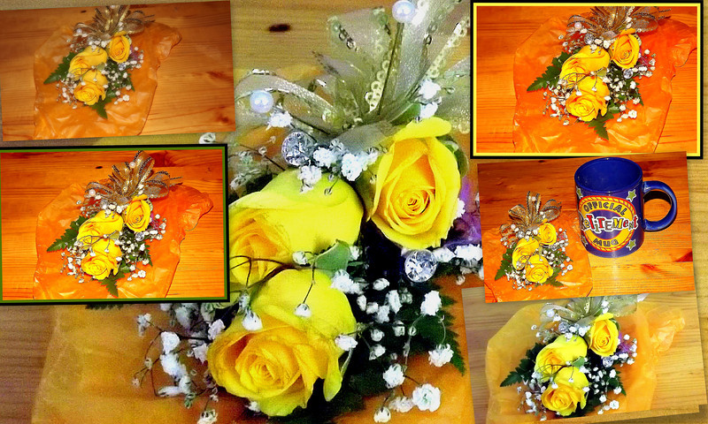 A corsage  collage. Say that ten times real fast!!! Isn't it gorgeous? The corsage is now standing in my mug . Is that how one dries flowers out to save? Thank you to our accountant Lynda !! Love it!  Love you too!