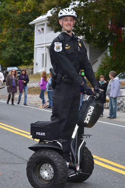 Dectective Mike Hicks rides a Segway Personal Transport vehicle loaned by the Norwalk Police Department.