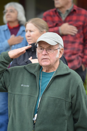 Coventry resident and CoventryVision committee member Bob Plant during the Pledge of Allegiance.