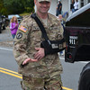 SFC Combat Medic Micah Welintukonis, who was severely injured while on active duty in Afghanistan,on his way to receive the Purple Heart Award at the conclusion of the parade.