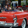 Parade Marshals Rose Fowler and Bruce Johnson in a 1955 convertible loaned by Roger Pelkey.