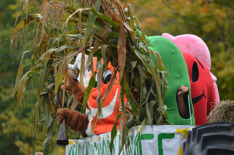Dancing veggies on the Coventry Agricultural Committee float.