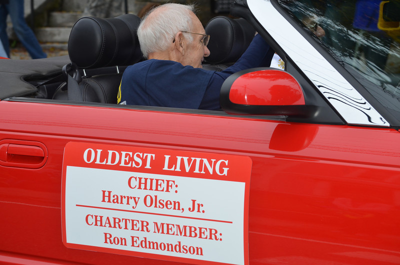 Oldest living chief of North Coventry Volunteer Fire Department Harry Olsen and Charter Member Ron Edmondson.