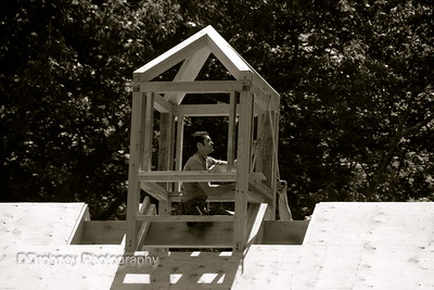 Liam...measuring up the cupola, with a little help from a friend.  ;-)