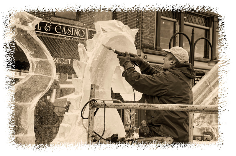 Creating an ice sculpture at the Cripple Creek Ice Festival; detail in this image is better viewed in a larger size