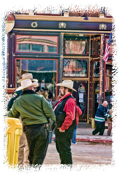 Friends talk at the Ice Festival in Cripple Creek, Colorado; detail in this image is better viewed in a larger size