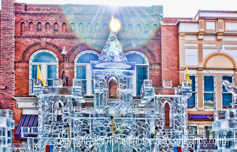 An ice sculpture castle at the festival in Cripple Creek, Colorado; detail in this image is better viewed in a larger size.