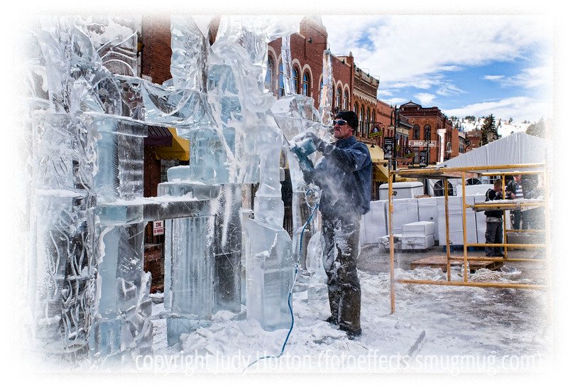 Carving an ice sculpture at the Cripple Creek Ice Festival; detail in this image shows up when viewed in a larger size.