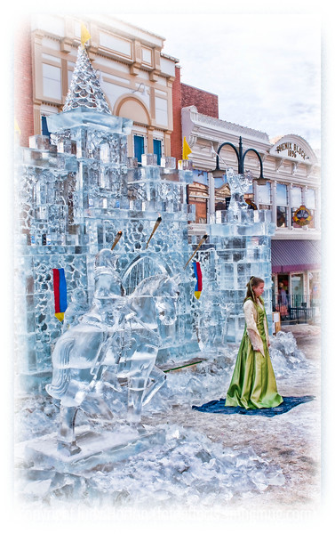 A princess stands outside her icy castle in Cripple Creek, Colorado; detail in this image is better viewed in a larger size