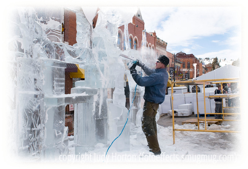 Carving an ice sculpture at the Ice Festival in Cripple Creek, Colorado; detail in this image shows up in larger sizes.