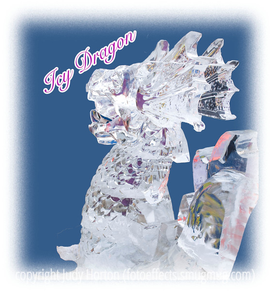 An icy dragon at the Ice Festival in Cripple Creek, Colorado; detail in this image is much better viewed in a larger size; the background has been cut out to emphasize the sculpture.