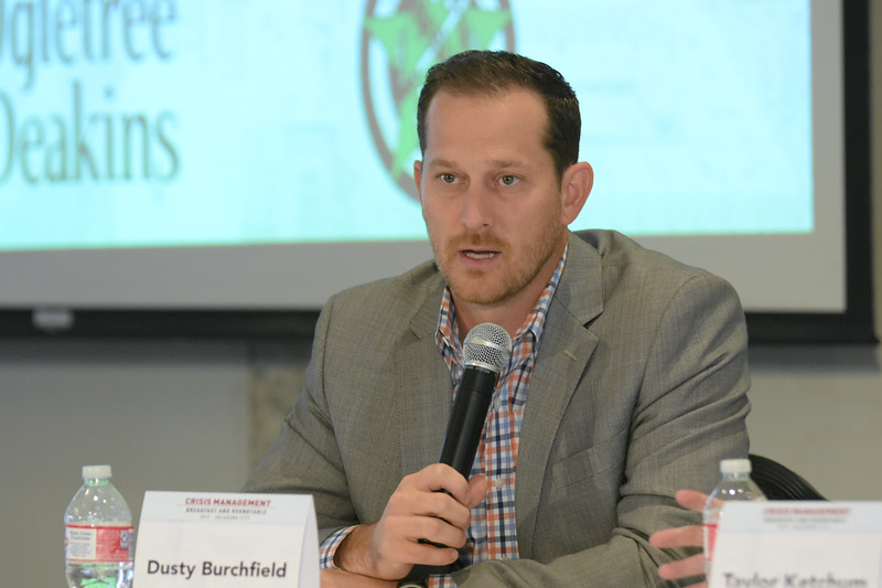 Dusty Burchfield,Rack 59, with the second group during the Crisis Management Roundtable event held at the Petroleum Club in Downtown OKC, 8-21-2019.  photo by Mark Hancock