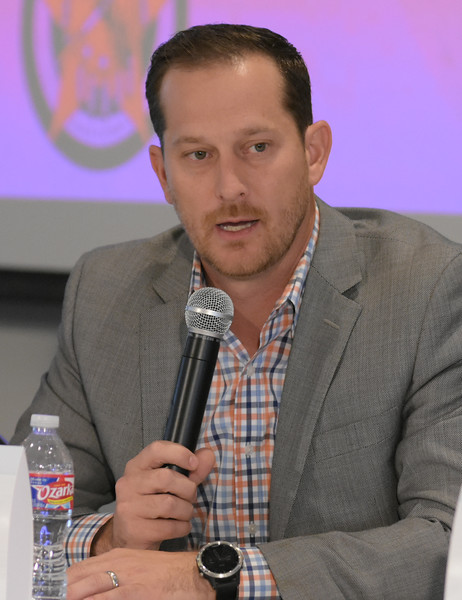 Dusty Burchfield, Rack59, with the first group during the Crisis Management Roundtable event held at the Petroleum Club in Downtown OKC, 8-21-2019.  photo by Mark Hancock